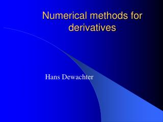 Numerical methods for derivatives