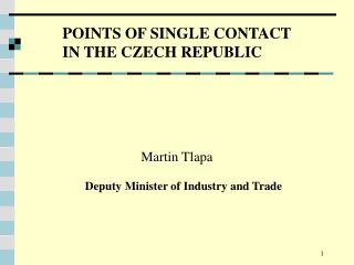 POINTS OF SINGLE CONTACT  IN THE CZECH REPUBLIC