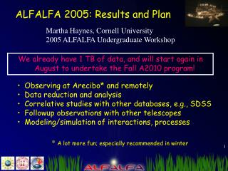 ALFALFA 2005: Results and Plan