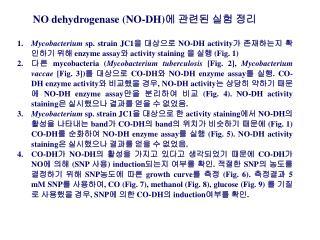 NO dehydrogenase (NO-DH) 에 관련된 실험 정리