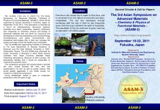 The 3rd Asian Symposium on Advanced Materials – Chemistry & Physics of  Functional Materials  –