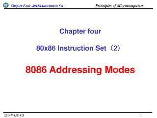 Chapter four 80x86 Instruction Set ( 2 ) 8086 Addressing Modes