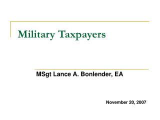 Military Taxpayers