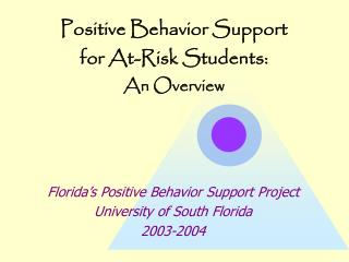 Positive Behavior Support  for At-Risk Students:  An Overview
