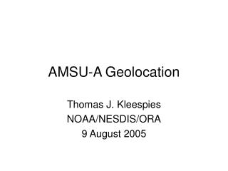 AMSU-A Geolocation