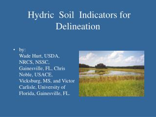 Hydric  Soil  Indicators for Delineation