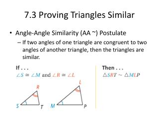 7.3 Proving Triangles Similar