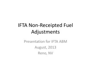 IFTA Non-Receipted Fuel Adjustments