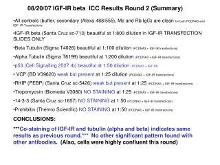 08/20/07 IGF-IR beta  ICC Results Round 2 (Summary)