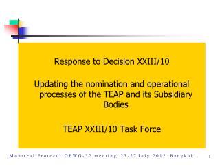 Response to Decision XXIII/10