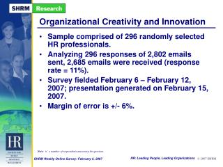 Organizational Creativity and Innovation