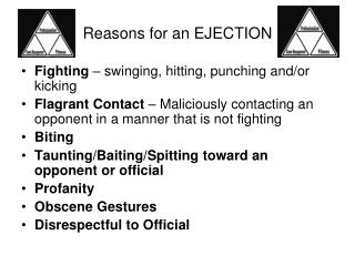 Reasons for an EJECTION