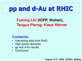 pp and d-Au at RHIC