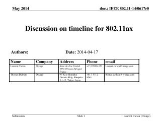 Discussion on timeline for 802.11ax