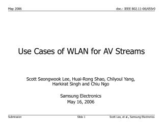 Use Cases of WLAN for AV Streams