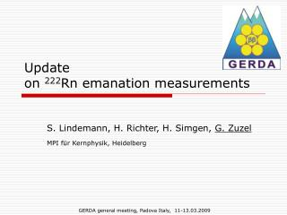 Update  on  222 Rn emanation measurements