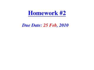 Homework # 2
