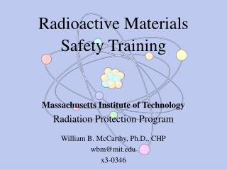 Radioactive Materials Safety Training