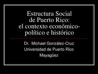 Estructura Social de Puerto Rico: el contexto econ mico-pol tico e hist rico