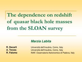 The dependence on redshift  of quasar black hole masses  from the SLOAN survey