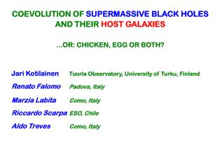 COEVOLUTION OF SUPERMASSIVE BLACK HOLES AND THEIR  HOST GALAXIES ...OR: CHICKEN, EGG OR BOTH?