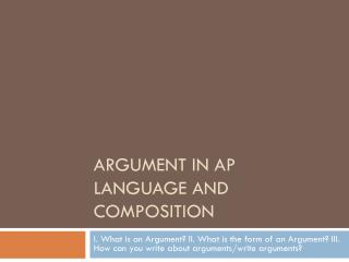 Argument in  ap  language and composition