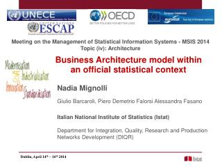 Business Architecture model within an official statistical context