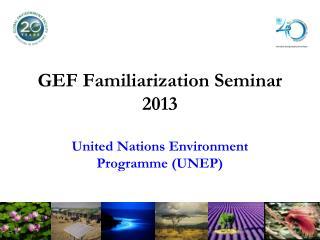 GEF Familiarization Seminar 2013