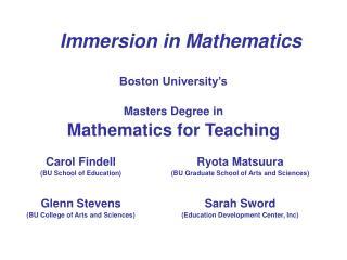 Immersion in Mathematics