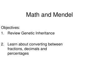 Math and Mendel