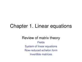 Chapter 1. Linear equations