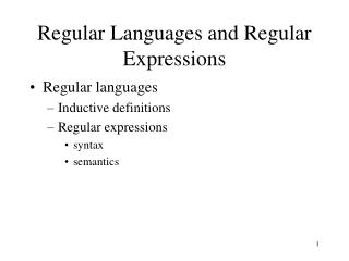 Regular Languages and Regular Expressions