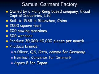 Samuel Garment Factory