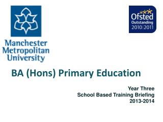 BA (Hons) Primary Education Year Three               School Based Training Briefing