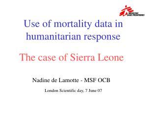 Use of mortality data in humanitarian response