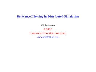 Relevance Filtering in Distributed Simulation