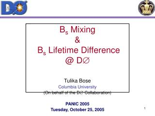 B s  Mixing  &  B s  Lifetime Difference @ D 