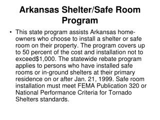 Arkansas Shelter/Safe Room Program