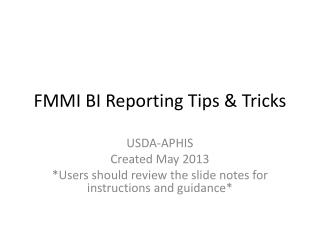 FMMI BI Reporting Tips & Tricks