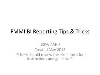 FMMI BI Reporting Tips & Tricks