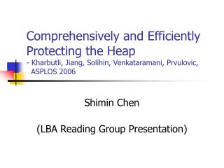 Shimin Chen (LBA Reading Group Presentation)