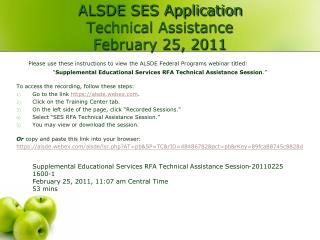 ALSDE SES Application  Technical Assistance  February 25, 2011