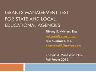 Grants  Management Test for State and Local Educational Agencies