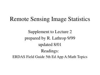 Remote Sensing Image Statistics