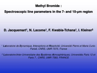 Methyl Bromide :  Spectroscopic line parameters in the 7- and 10- μ m region