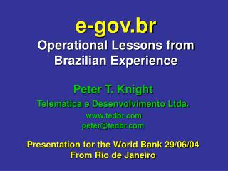 e-gov.br Operational Lessons from Brazilian Experience