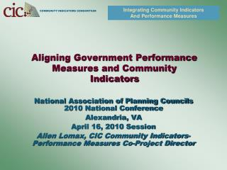 Aligning Government Performance Measures and Community Indicators