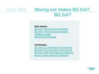 Moving coil meters BQ 0x07,  BQ 2x07