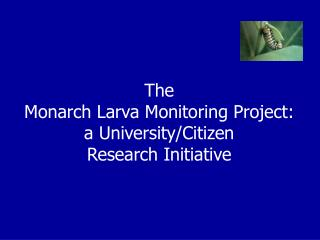 The  Monarch Larva Monitoring Project:  a University/Citizen  Research Initiative