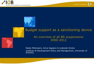 Budget support as a sanctioning device  An overview of all BS suspensions  2000-2012